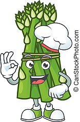 caractère, chef cuistot, asperge, blanc, smiley, chapeau, figure