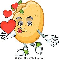 caractère, coeur, tubercule, dessin animé, sprouted, pomme terre, heureux, mascotte