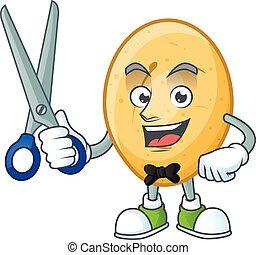 caractère, coiffeur, smiley, dessin animé, pomme terre, conception, mascotte