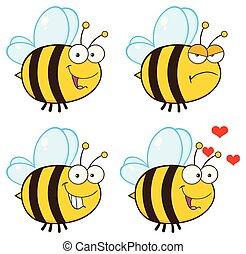 caractère, -, collection, abeille, 1, dessin animé, mascotte
