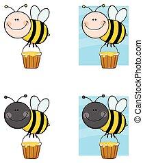 caractère, -, collection, abeille, 6, dessin animé, mascotte