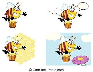 caractère, -, collection, abeille, 7, dessin animé, mascotte