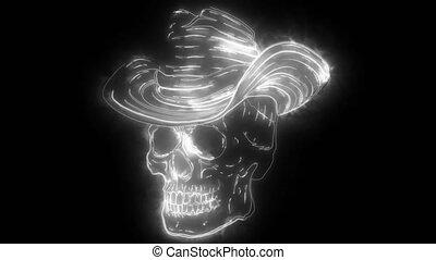 caractère, cow-boy, numérique, feutre, néon, vidéo, spooky, crâne, classique, chapeau