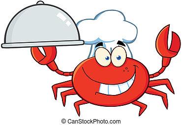 caractère, crabe, chef cuistot, mascotte, dessin animé