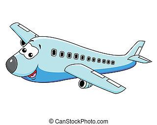 caractère, dessin animé, avion