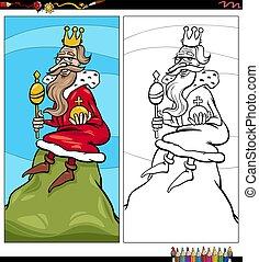 caractère, dessin animé, colline, page, livre, roi, coloration
