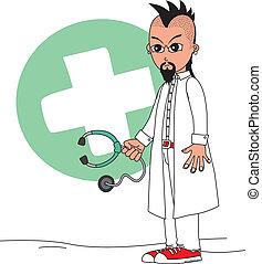 caractère, dessin animé, docteur
