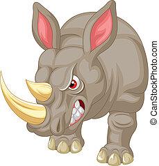 caractère, dessin animé, fâché, rhinocéros