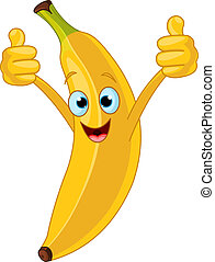 caractère, dessin animé, gai, banane