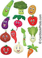 caractère, dessin animé, légume, mignon
