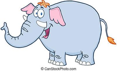 caractère, dessin animé, mascotte, éléphant