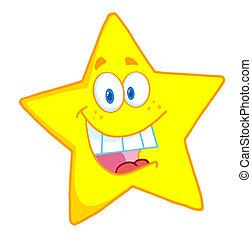 caractère, dessin animé, mascotte, étoile