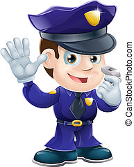 caractère, dessin animé, policier, illustr
