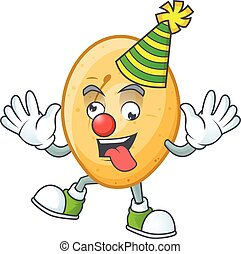 caractère, dessin animé, pomme terre, rigolote, clown, conception, mascotte