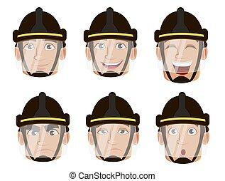 caractère, dessin animé, pompier