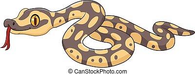 caractère, dessin animé, serpent, isolé