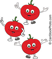 caractère, dessin animé, tomate
