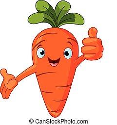 caractère, donner, tomate, pouces haut