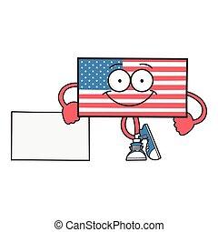 caractère, drapeau, américain, sourire, dessin animé, heureux