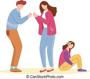 caractère, ennui, famille, comportement, couple, conflict., dessin animé, plat, illustration., relation, vecteur, wife., gosse, agressif, fond, mariés, problem., entre, isolé, mariage, blanc, mari