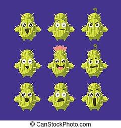 caractère, ensemble, cactus, dessin animé