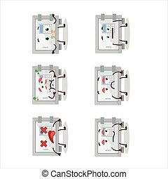 caractère, expression, boîte, sûr, dessin animé, numérique, nope