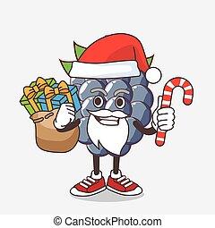 caractère, fruit, bonbon, santa, dewberries, déguisement, mascotte, dessin animé