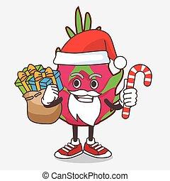 caractère, fruit, dragon, bonbon, santa costume, mascotte, dessin animé