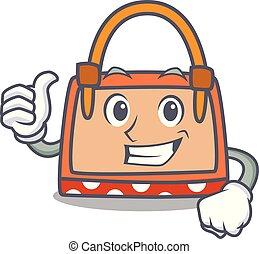 caractère, haut, sac main, pouces, dessin animé