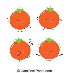 caractère, heureux, tomate, mignon, ensemble, collection