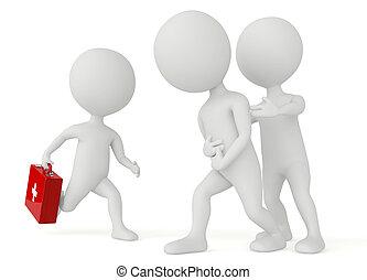 caractère, humanoïde, kit, courant, aide, 3d, premier
