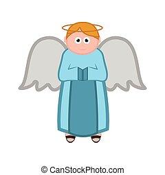 caractère, isolé, ange, dessin animé