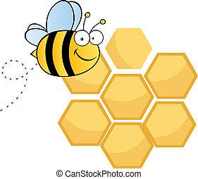 caractère, mignon, dessin animé, abeille