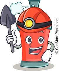 caractère, mineur, pulvérisation, boîte aérosol, dessin animé
