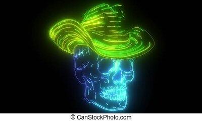 caractère, néon, vidéo, crâne, chapeau, spooky, cow-boy, feutre, classique, numérique