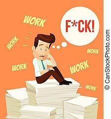 caractère, occupé, dur, work., homme