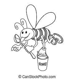 caractère, ouvrier, cuillère, sourire, seau, miel, mouches, rigolote, &, abeille