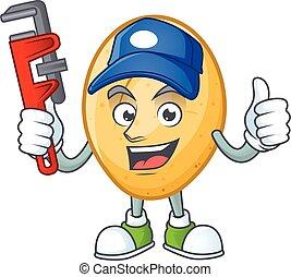 caractère, plombier, dessin animé, pomme terre, conception, frais, mascotte