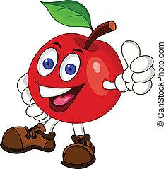 caractère, pomme, rouges, dessin animé