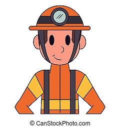 caractère, pompier, dessin animé, professionnel