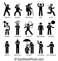 caractère, positif, traits