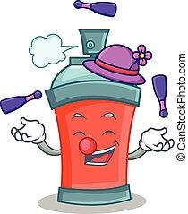 caractère, pulvérisation, aérosol, jonglerie, dessin animé, boîte