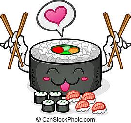 caractère, sushi, manger, plat