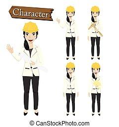 caractère, vecteur, ensemble, illustration, ingénieur