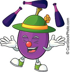 caractère, winne, fruit, jonglerie, délicieux, dessin animé