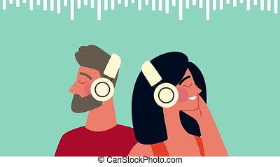 caractères, écouteurs, jeune couple, utilisation