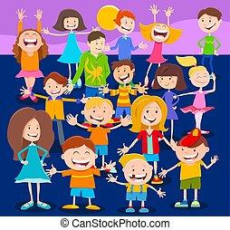 caractères, adolescents, enfants, foule, dessin animé