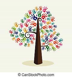 caractères, arbre, coloré, solidarité, main