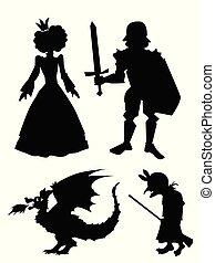 caractères, chevalier, silhouettes, vieux, princesse, dragon, sorcière, tales., épée, fée, ensemble
