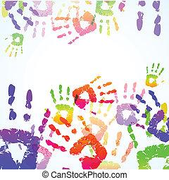 caractères, coloré, fond, main